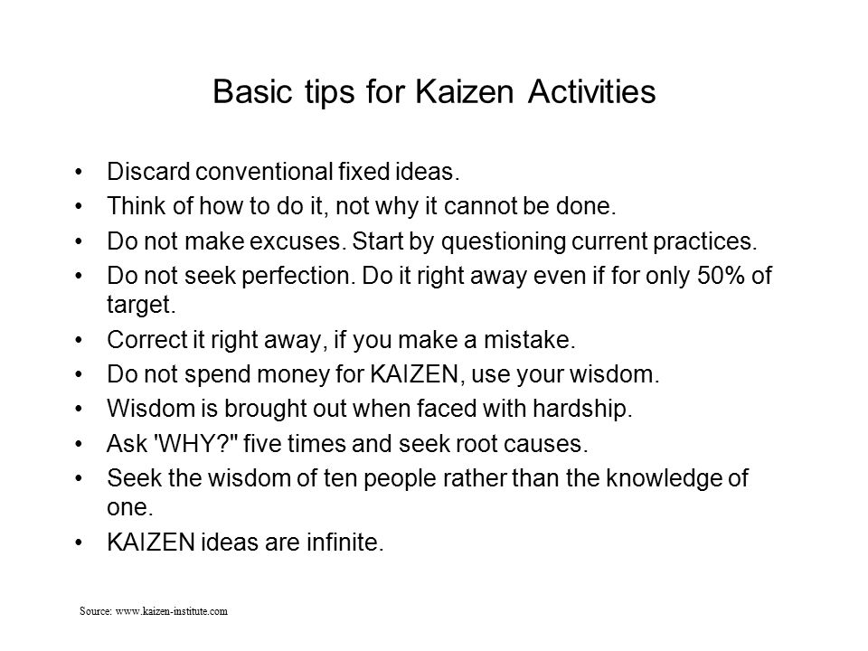 Basic tips for Kaizen Activities