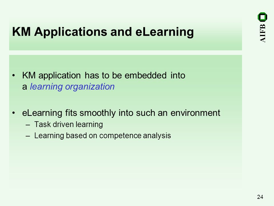 KM Applications and eLearning