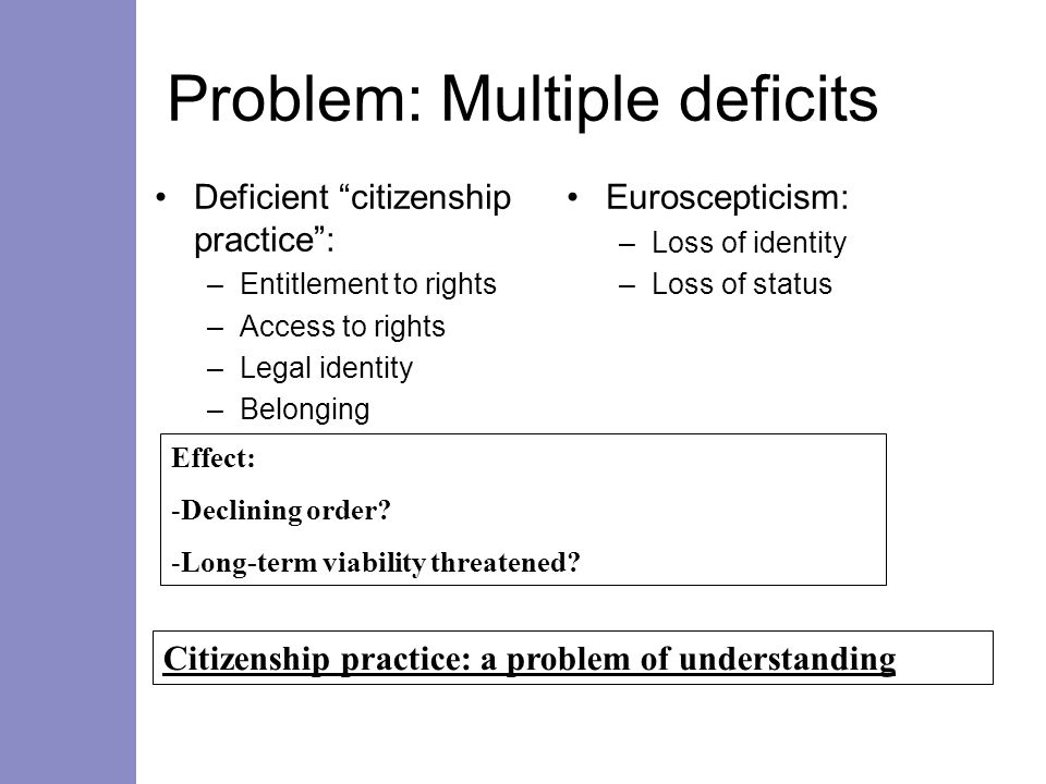 Problem: Multiple deficits