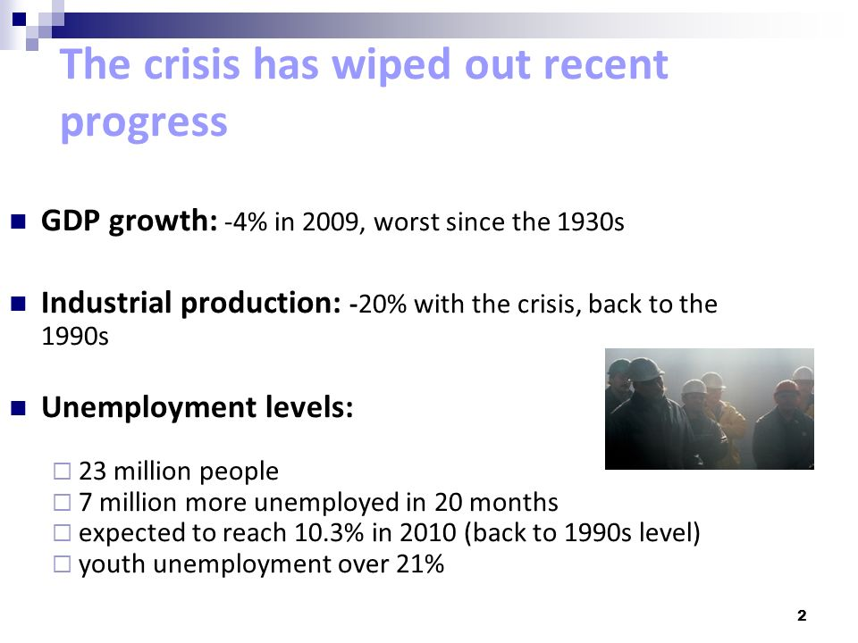 The crisis has wiped out recent progress