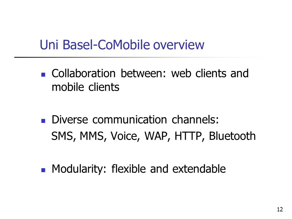Uni Basel-CoMobile overview