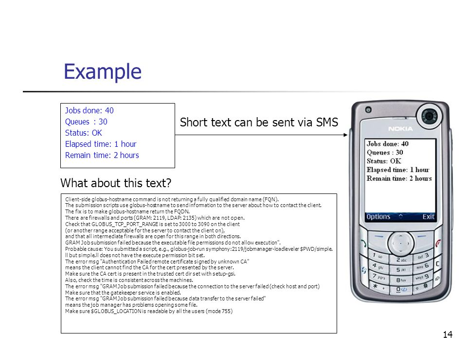 Short text can be sent via SMS