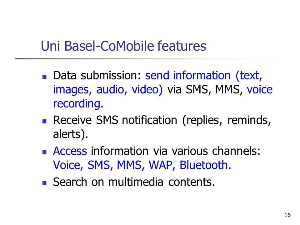 Uni Basel-CoMobile features