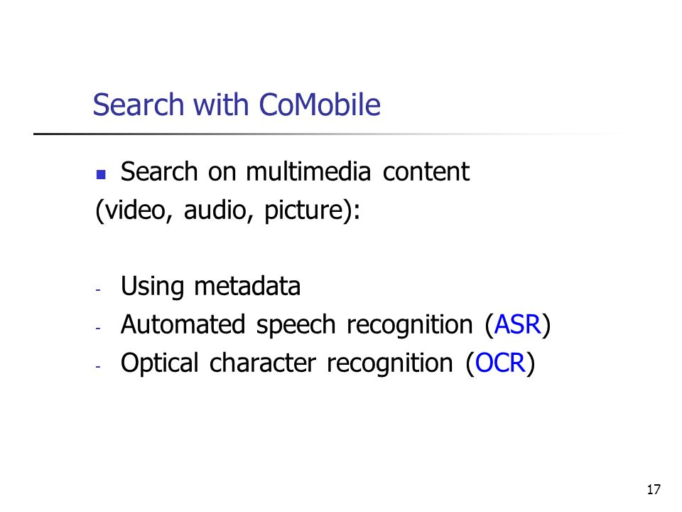 Search with CoMobile Search on multimedia content