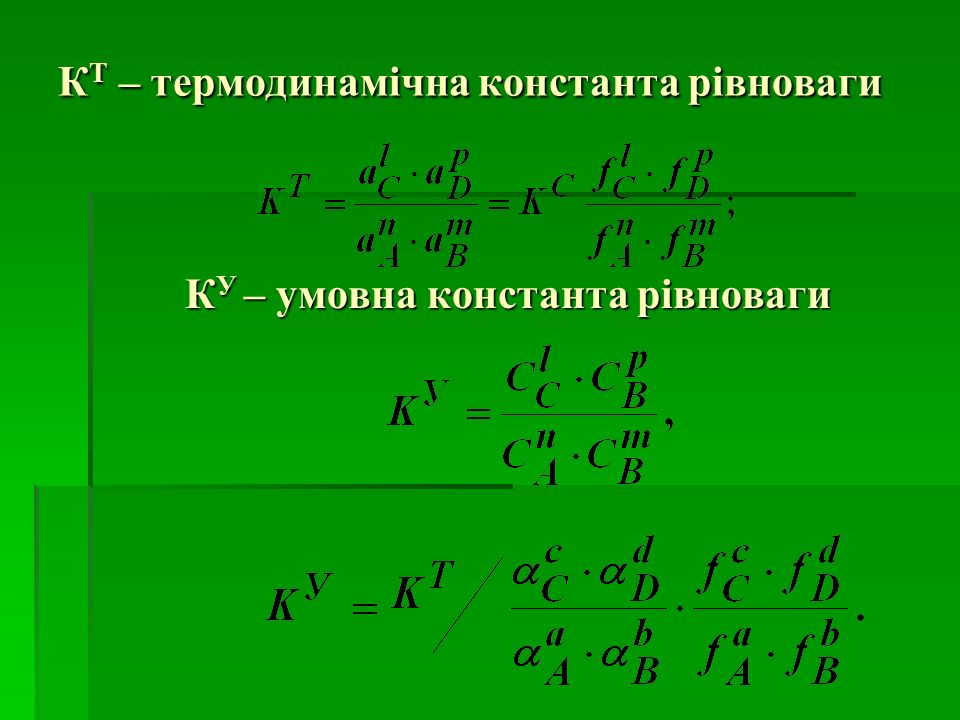 КТ – термодинамічна константа рівноваги