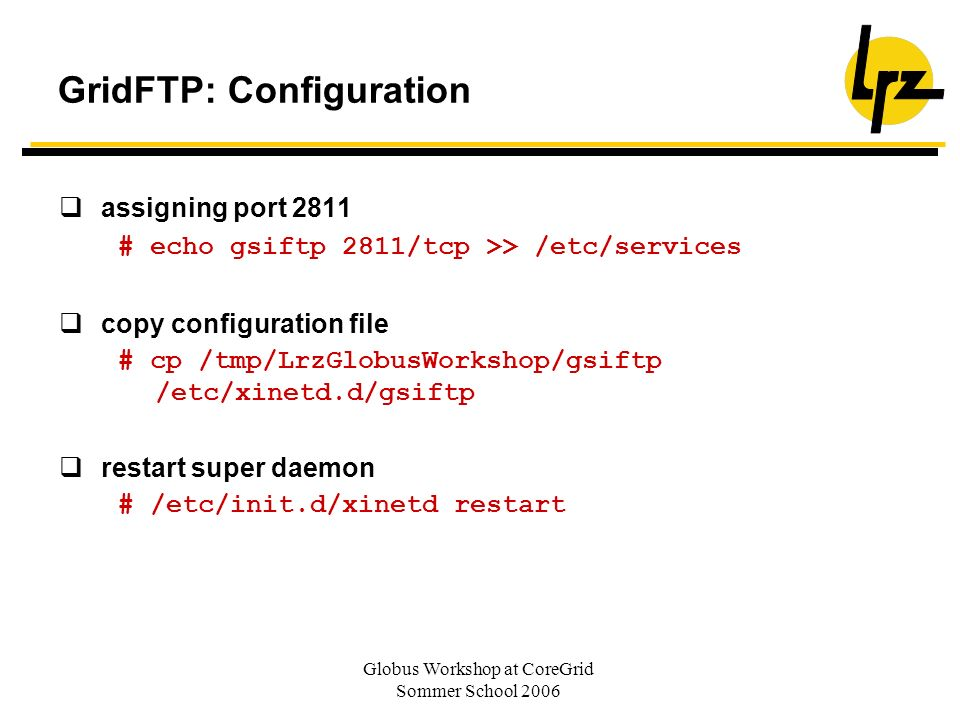 GridFTP: Configuration