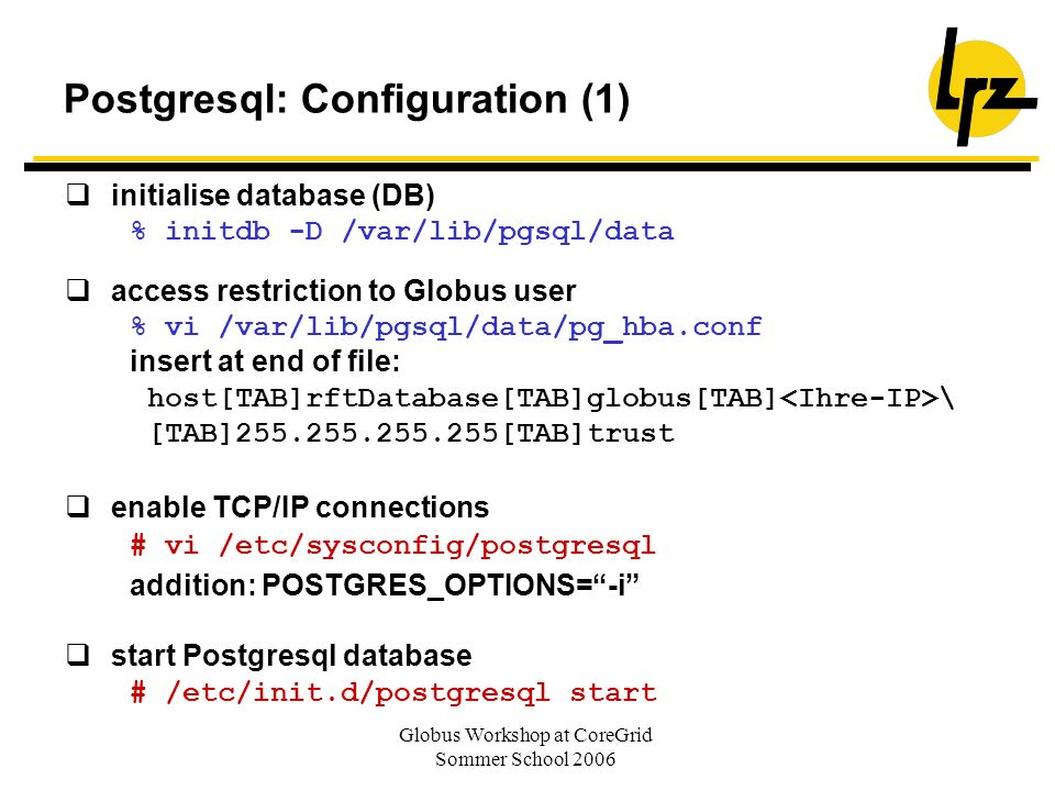 Postgresql: Configuration (1)