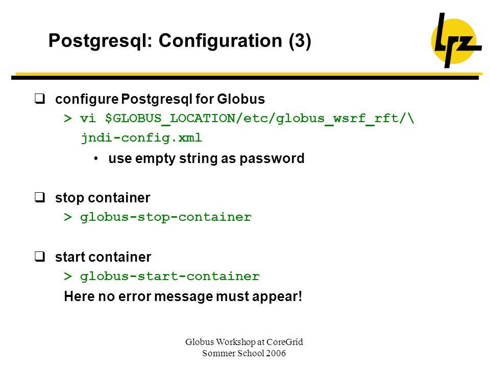 Postgresql: Configuration (3)