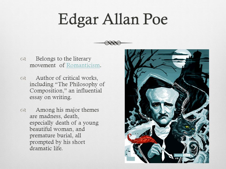 "the best romantic work by edgar allan poe Nathaniel hawthorne and edgar a poe this is the dark side of the romantic ""the poet as critic"" collected in the cambridge companion to edgar allan poe."
