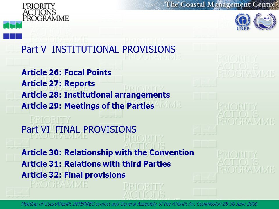 Part V INSTITUTIONAL PROVISIONS