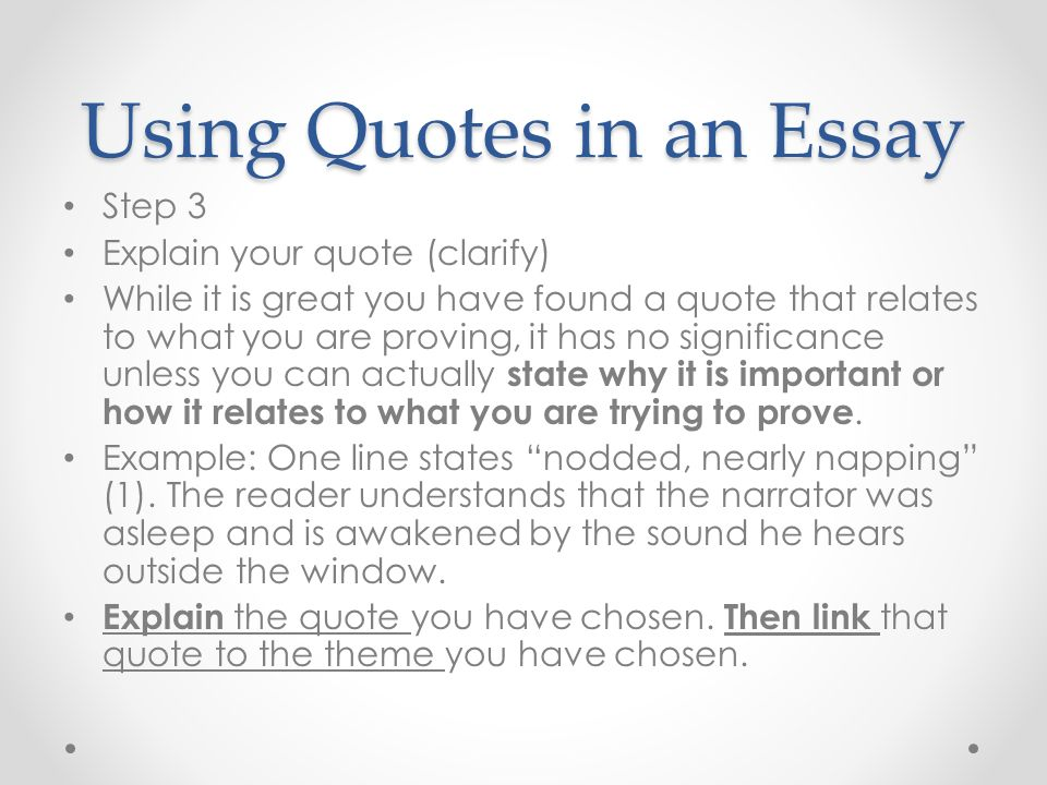using quotations marks in an essay The block format itself takes the place of quotation marks  once the reader knows which edition of a text you are using,.