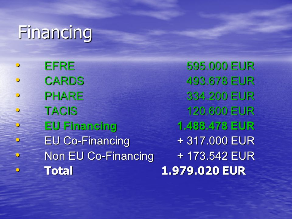 Financing EFRE 595.000 EUR CARDS 493.678 EUR PHARE 334.200 EUR