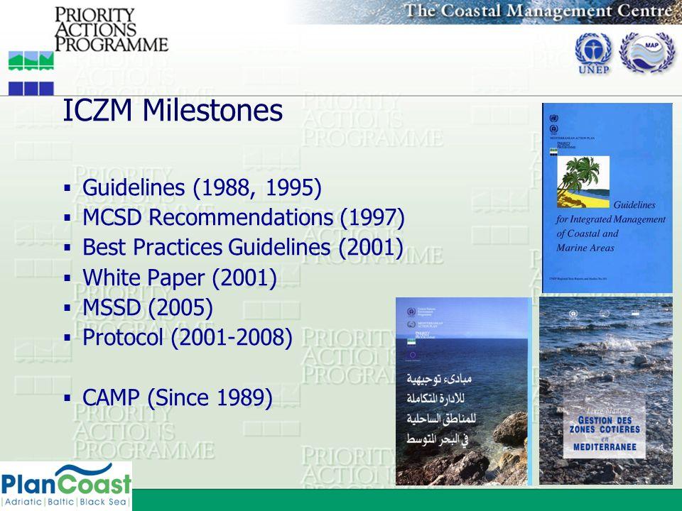 ICZM Milestones Guidelines (1988, 1995) MCSD Recommendations (1997)