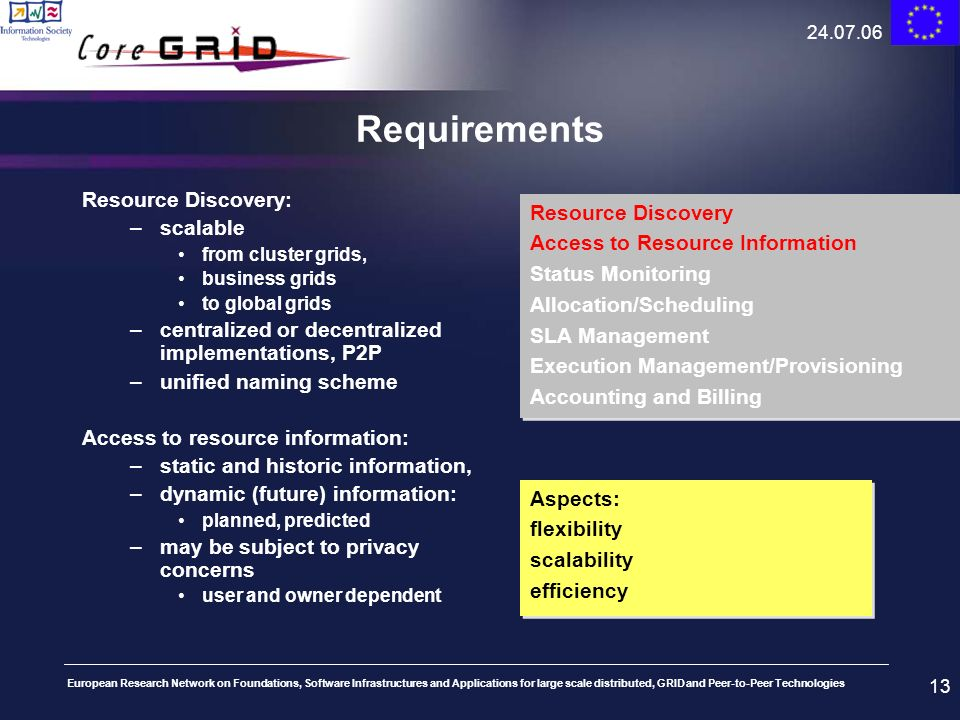 Requirements Resource Discovery: scalable Resource Discovery