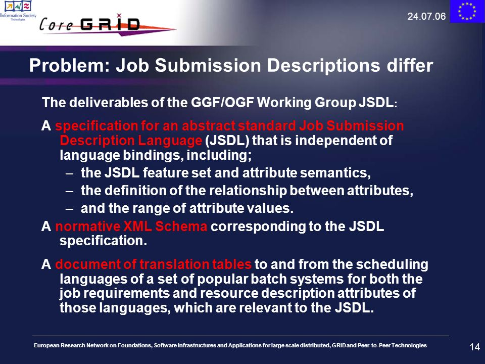 Problem: Job Submission Descriptions differ