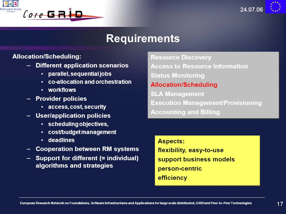 Requirements Allocation/Scheduling: Resource Discovery