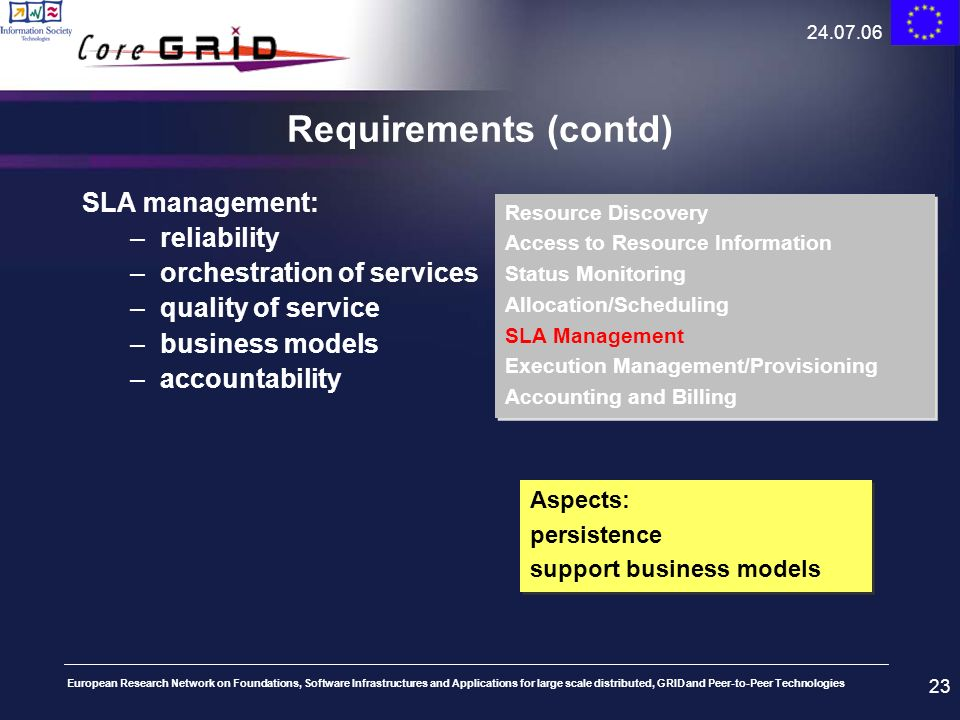 Requirements (contd) SLA management: reliability