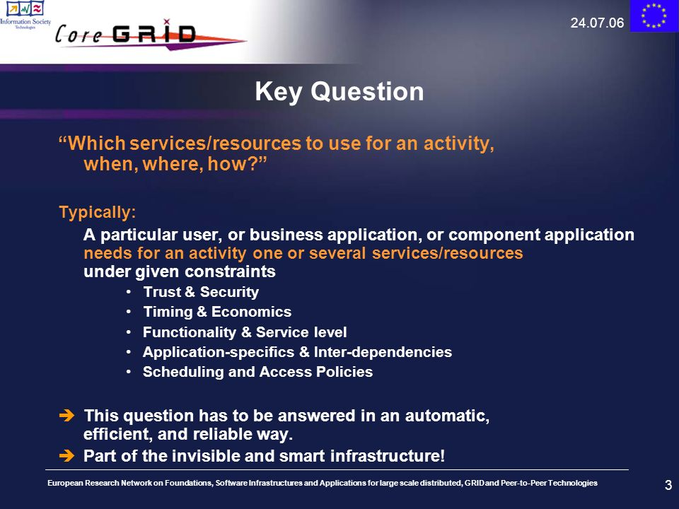 24.07.06 Key Question. Which services/resources to use for an activity, when, where, how Typically: