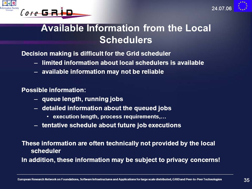 Available Information from the Local Schedulers