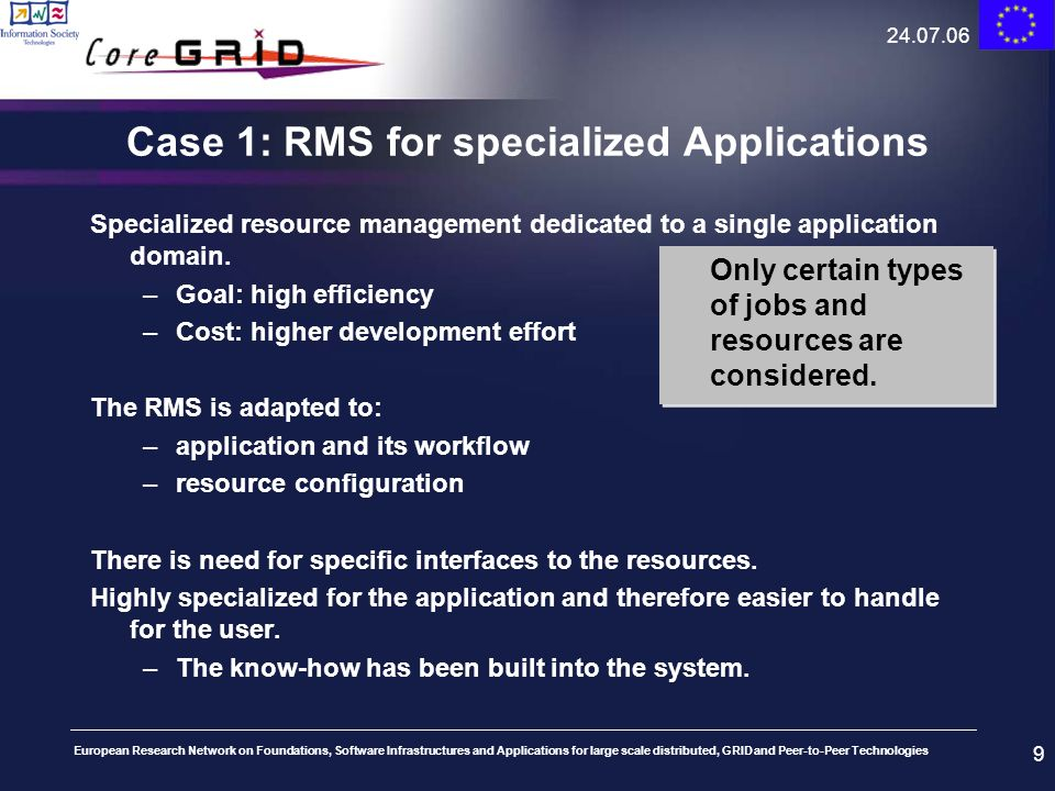 Case 1: RMS for specialized Applications