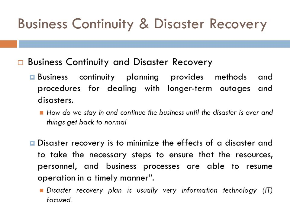 business continuity disaster recovery ppt