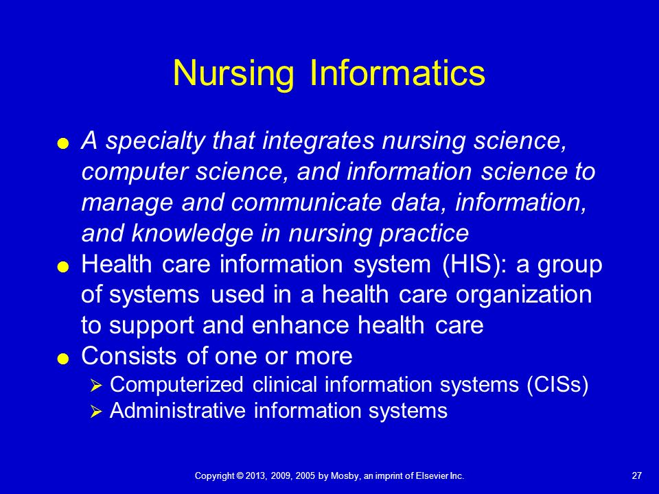 using informatics in the clinical setting Public health informatics is a subdomain of the larger field known as biomedical or health informatics health informatics is not synonymous with the term health information technology (it) although the concept of health it encompasses the use of technology in the field of health care, one can think of health informatics as defining the.