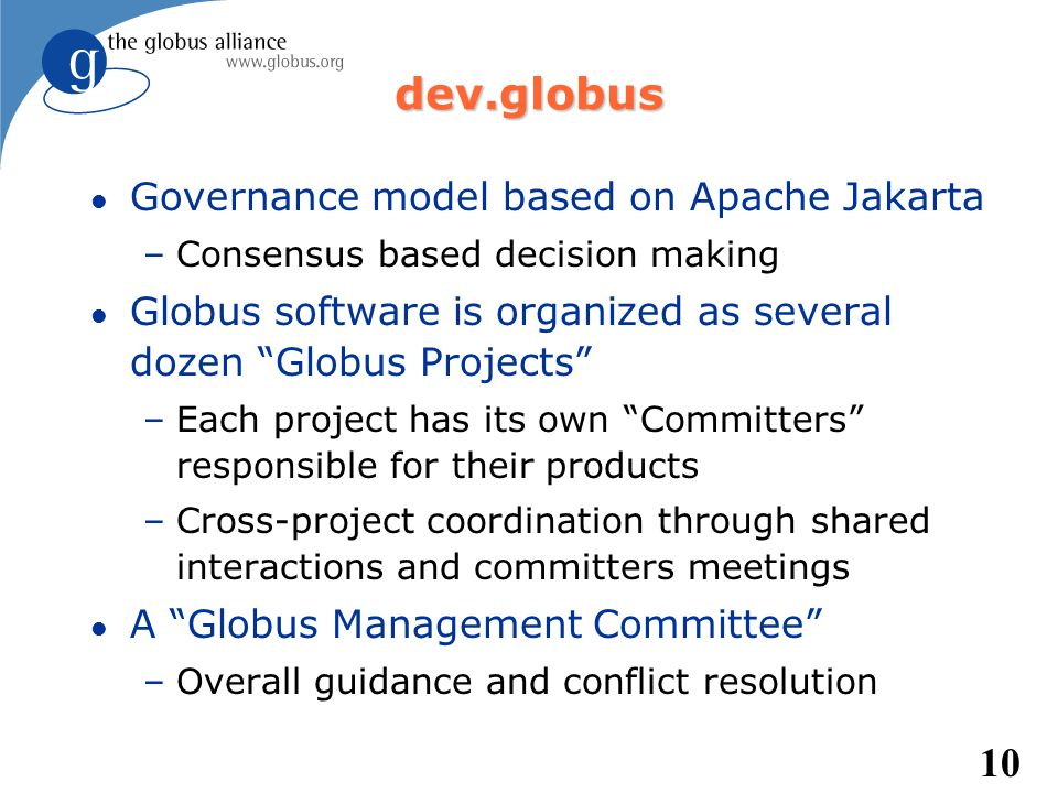 dev.globus Governance model based on Apache Jakarta