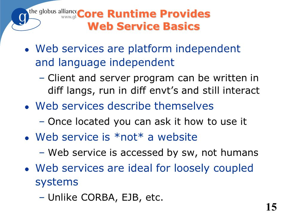 Core Runtime Provides Web Service Basics