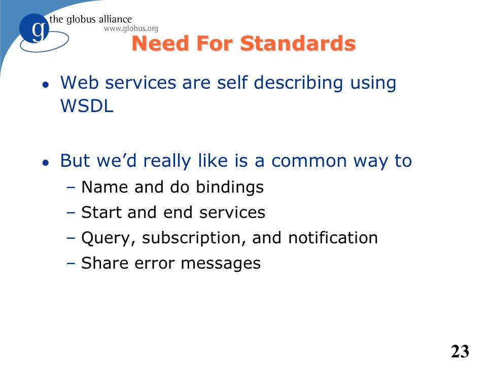 Need For Standards Web services are self describing using WSDL