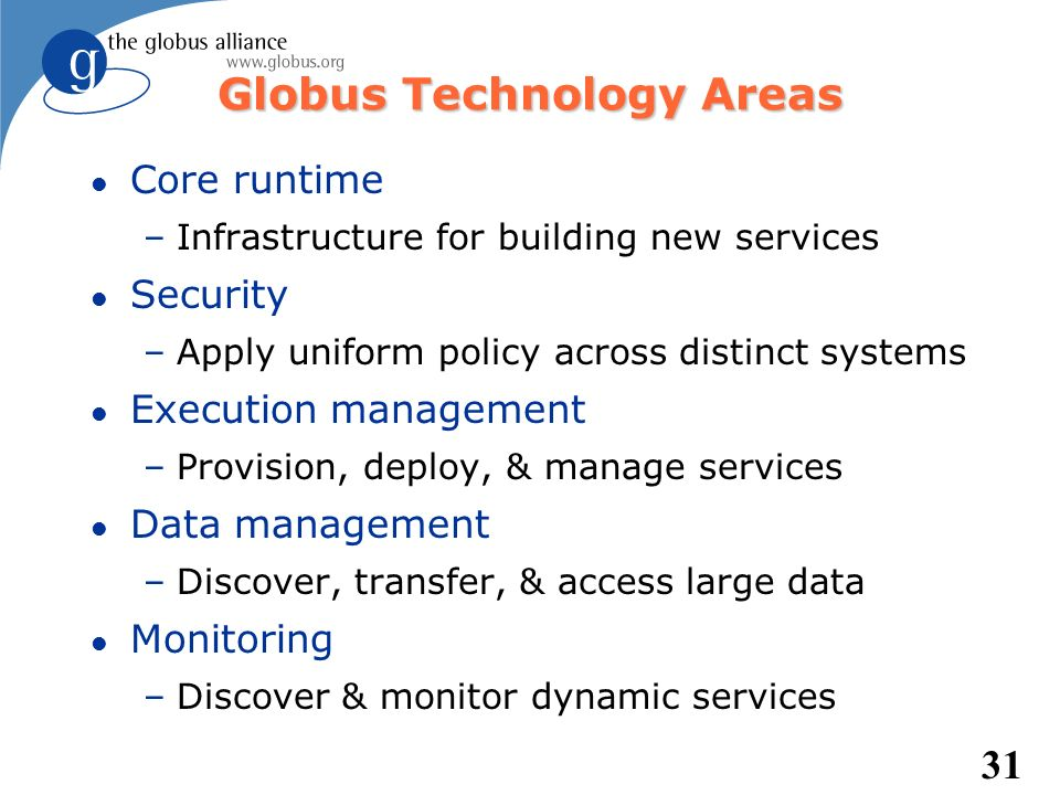 Globus Technology Areas