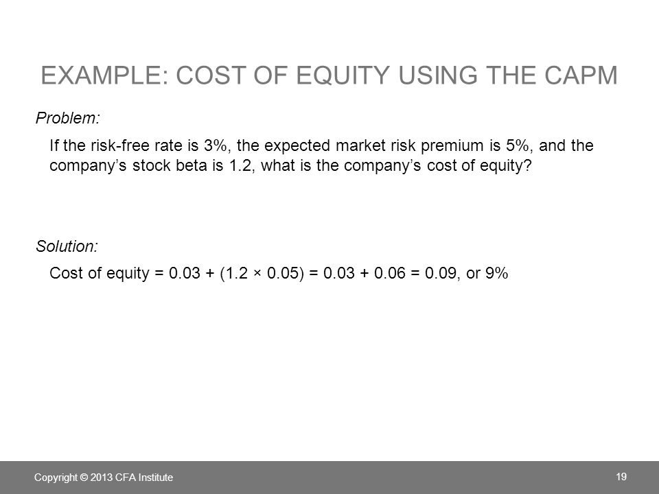 equity capital free of cost Calculate and interpret the cost of equity capital using the capital asset pricing model approach, the dividend discount model approach, and the bond-yield plus risk-premium approach corporate finance – learning sessions.
