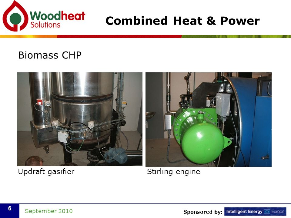 Combined Heat & Power Biomass CHP Updraft gasifier Stirling engine