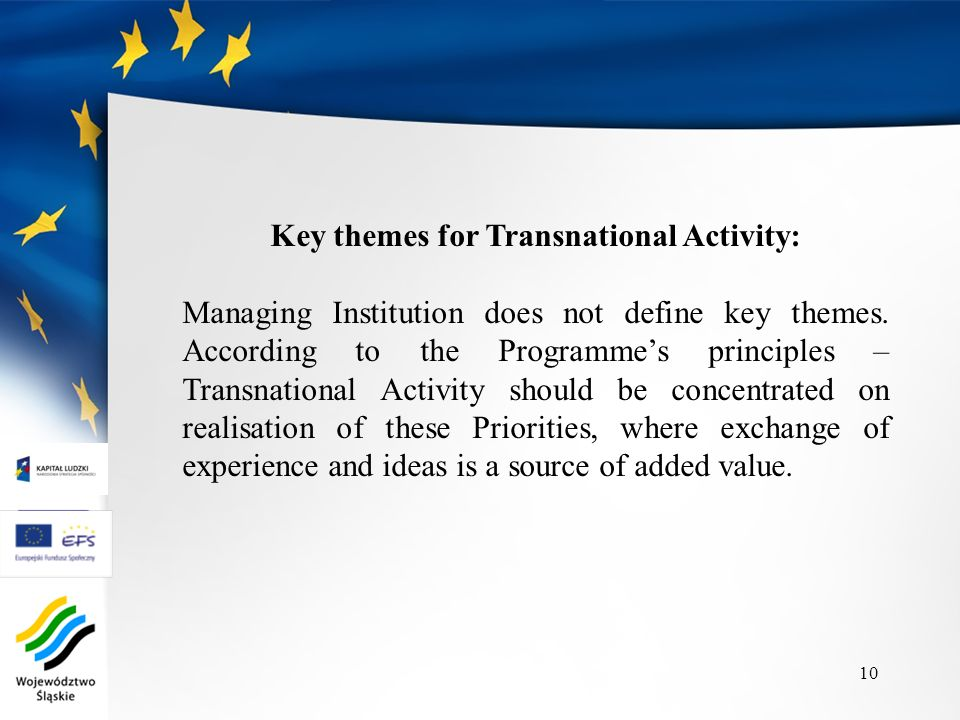 Key themes for Transnational Activity: