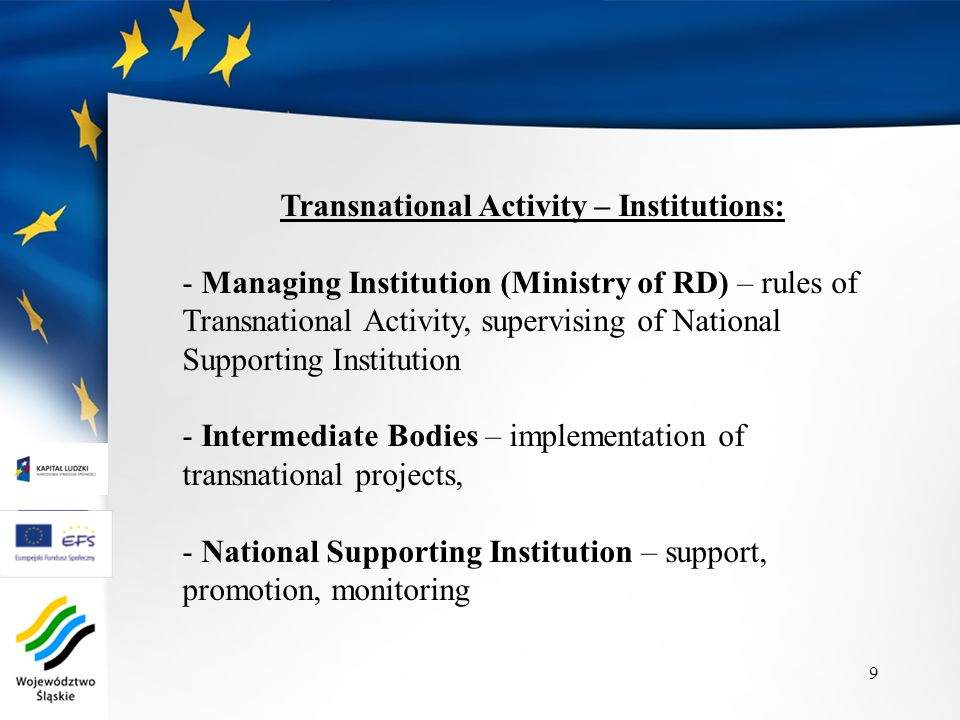 Transnational Activity – Institutions: