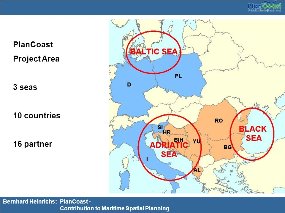 PlanCoast Project Area 3 seas 10 countries 16 partner