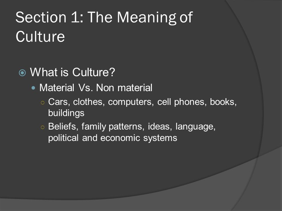 Section 1: The Meaning of Culture