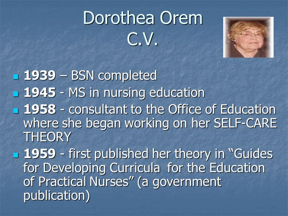 dorothy orem theories of nursing