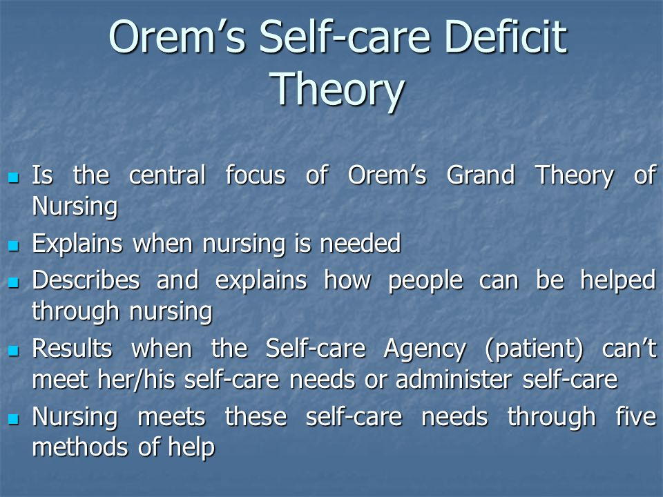 reflections on orem s theory of self care deficit (s)fiona timmins, catherine mc  nursing students' reflections through  f, dorothea orem's self care deficit theory- a nursing model of choice to.