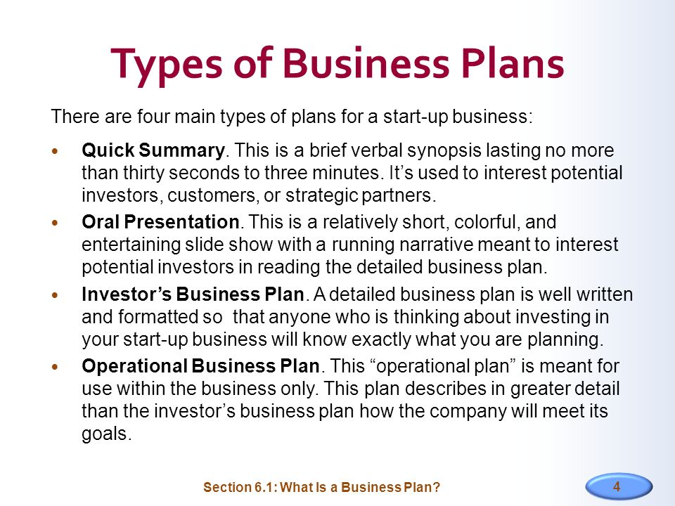 6 Types of Business Plans