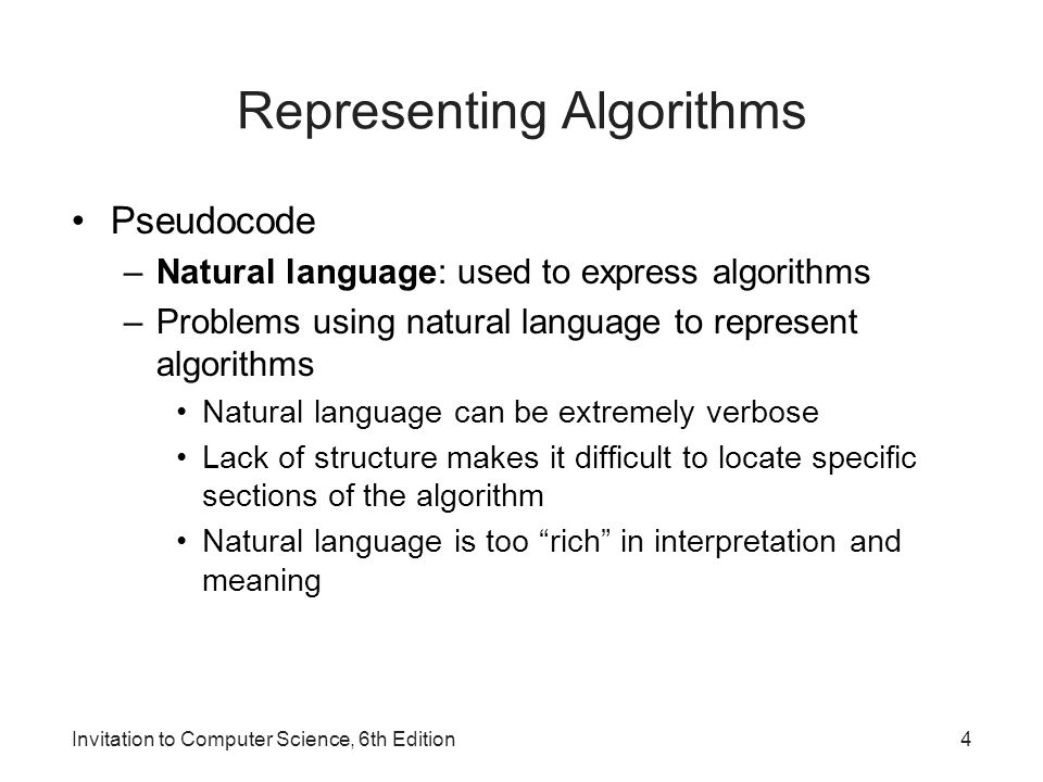 Invitation to computer science 6th edition ppt video online download 4 representing algorithms stopboris Image collections