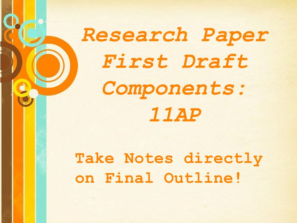 term paper first draft final Chegg use this checklist for 10 tips to help make that paper perfect  primary  sources should focus on academic sources (research journals, newspapers,  books etc) secondary sources  poor spelling and grammar mistakes can  majorly hurt your final grade and never rely  congrats, you finished a first draft  now the.