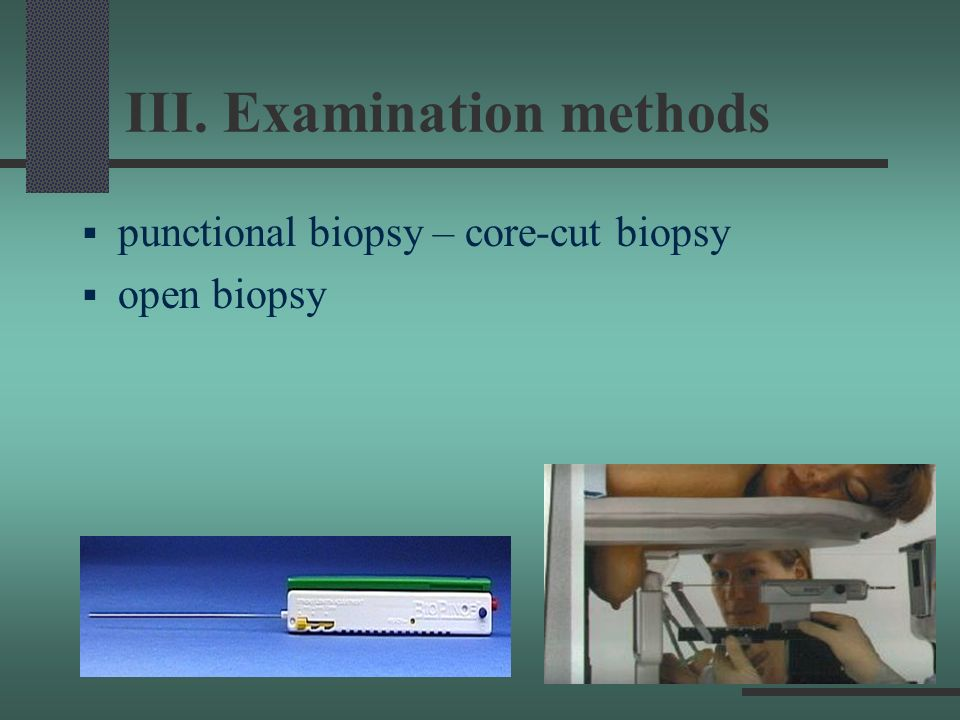III. Examination methods
