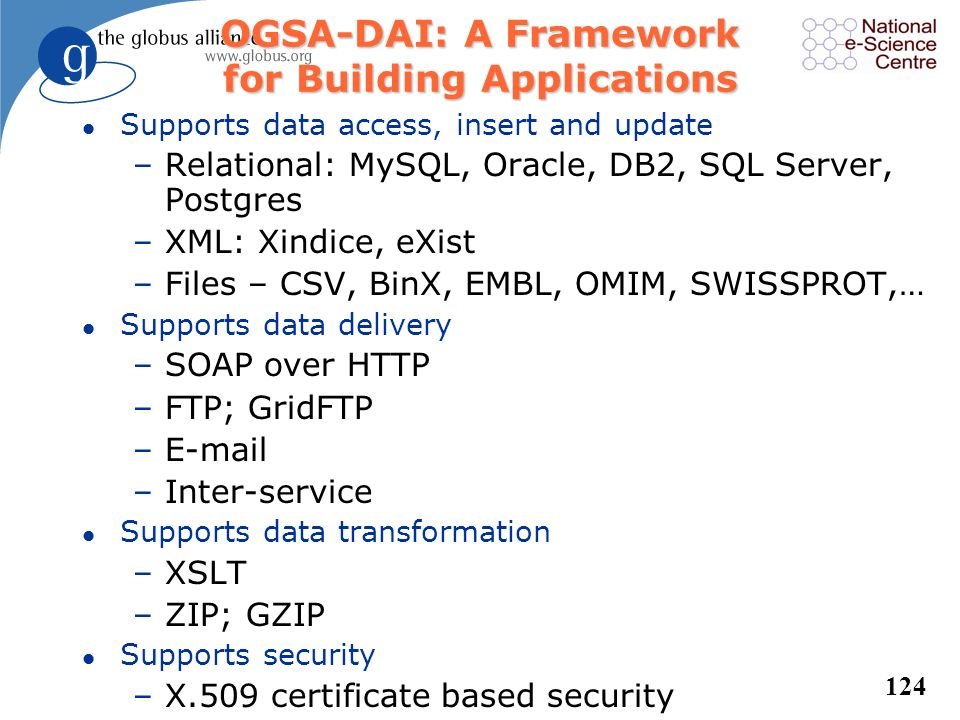OGSA-DAI: A Framework for Building Applications