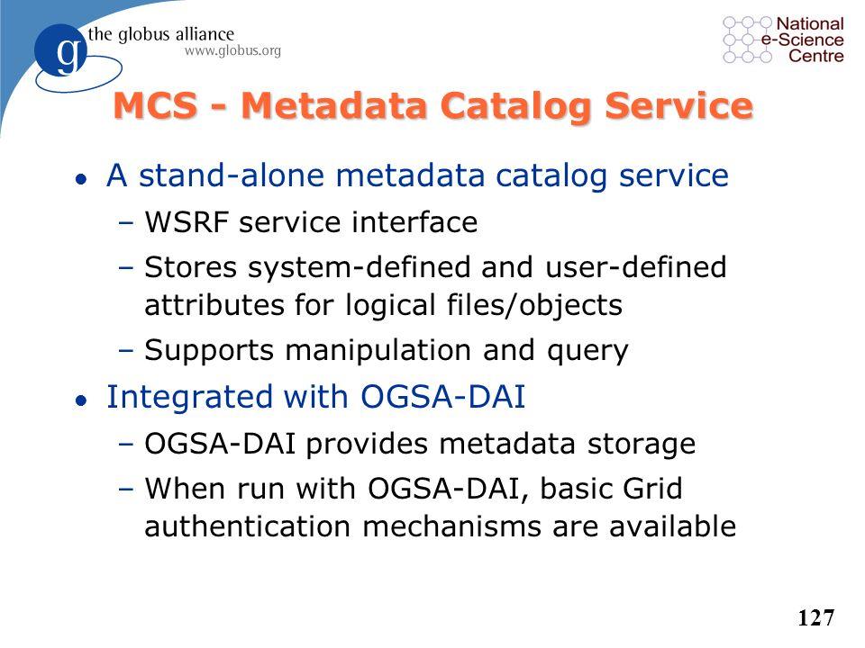 MCS - Metadata Catalog Service