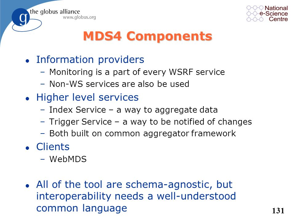 MDS4 Components Information providers Higher level services Clients