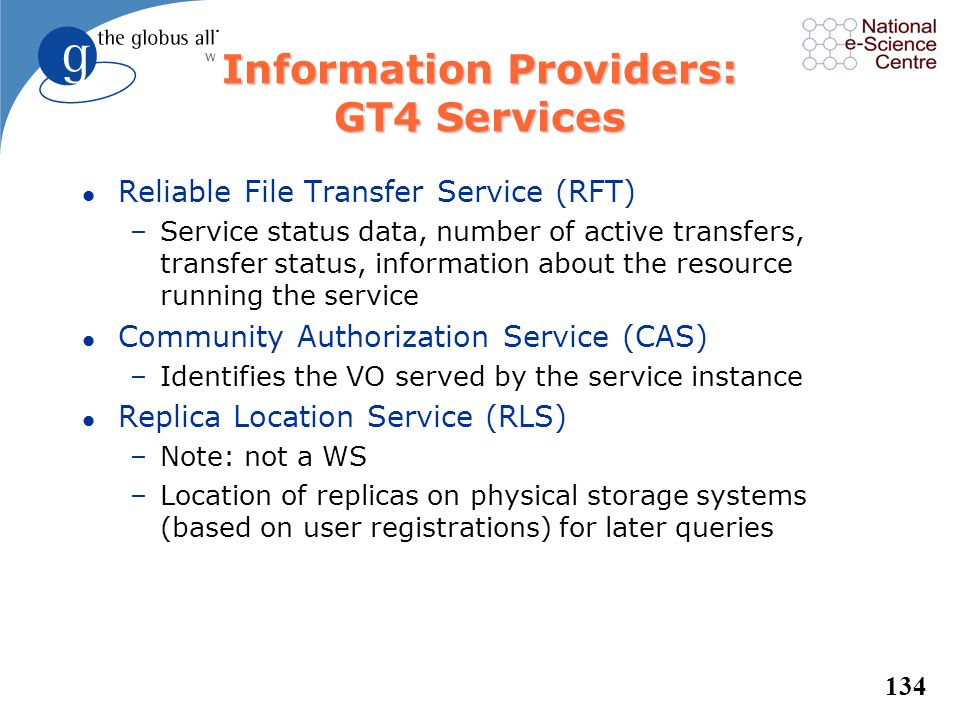 Information Providers: GT4 Services
