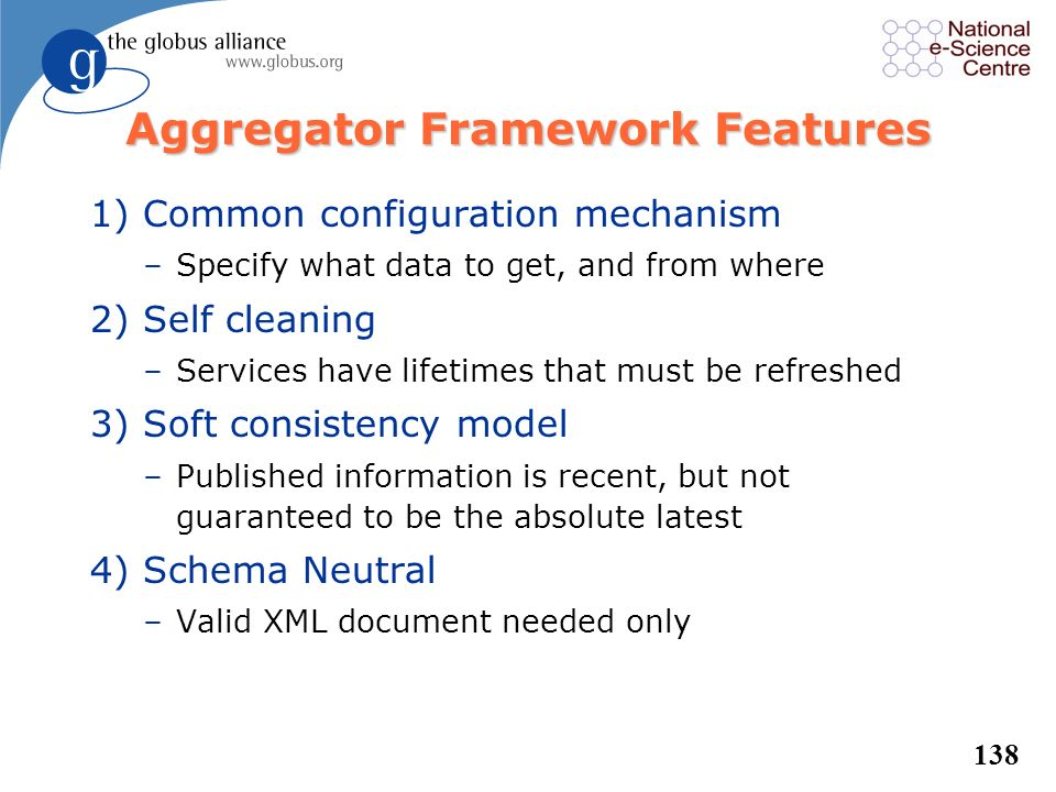 Aggregator Framework Features