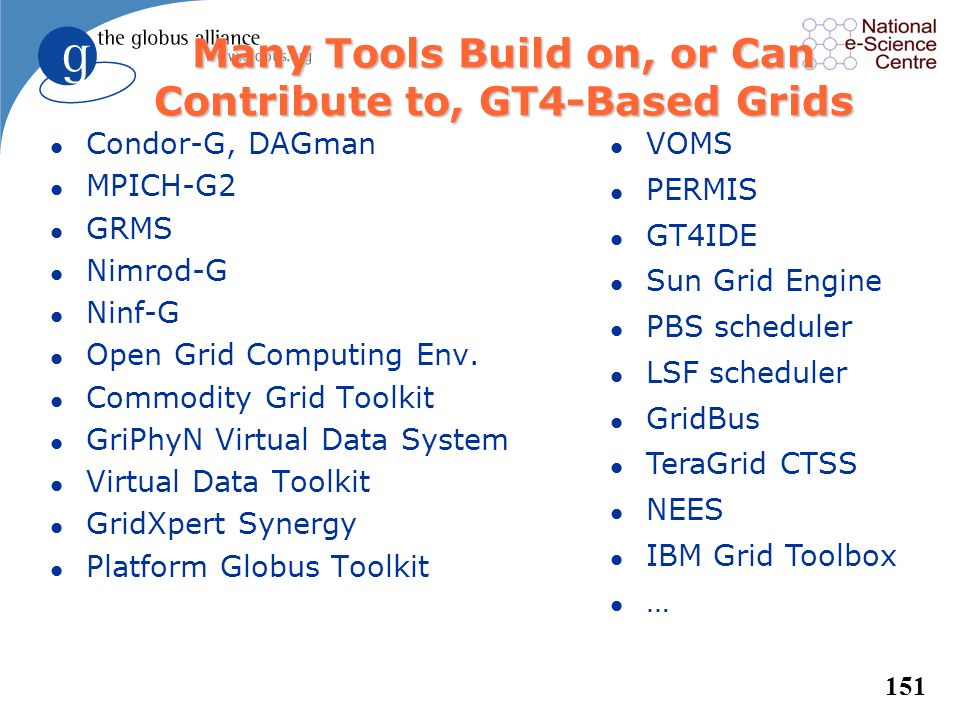 Many Tools Build on, or Can Contribute to, GT4-Based Grids