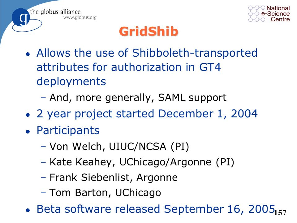 GridShib Allows the use of Shibboleth-transported attributes for authorization in GT4 deployments. And, more generally, SAML support.