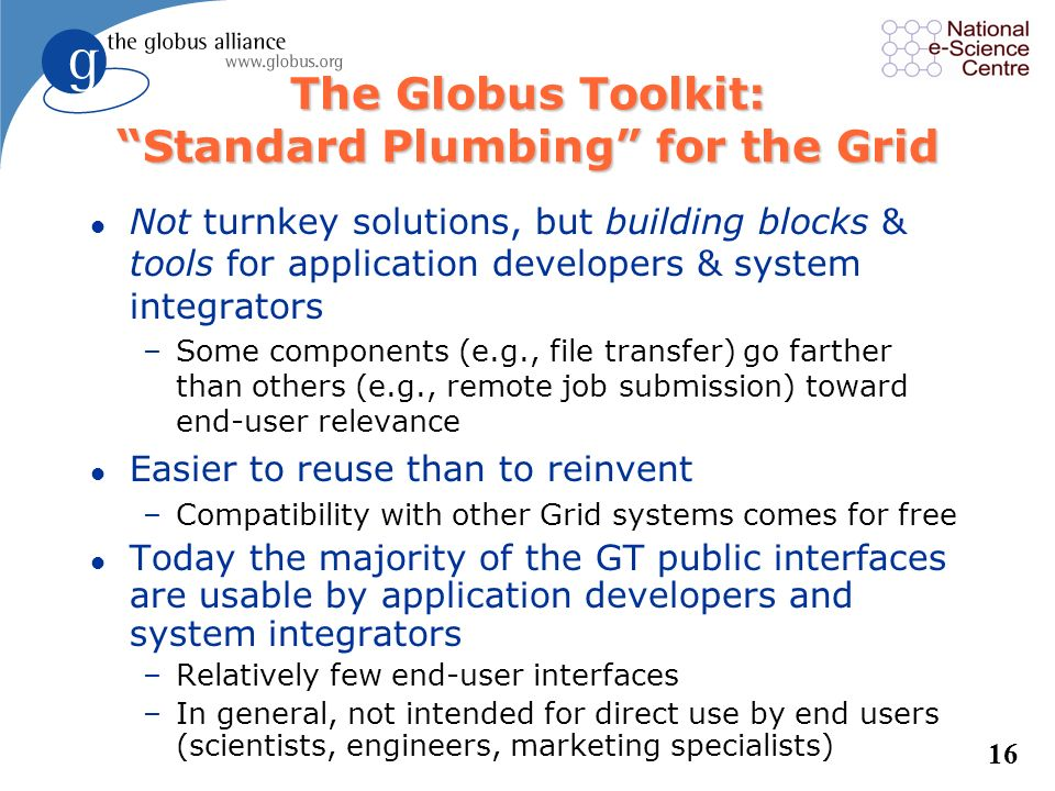 The Globus Toolkit: Standard Plumbing for the Grid